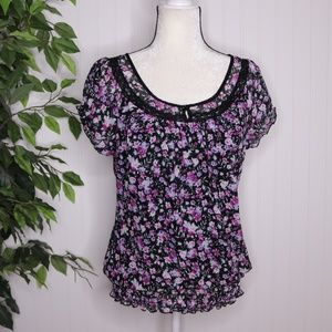 Maurices Floral Short Sleeve Blouse Size Large